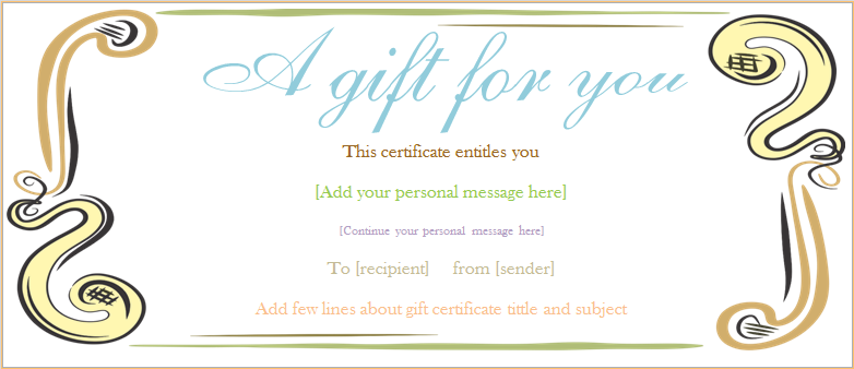 A Gift For You Gift Certificate Template  Gift Certificat Template