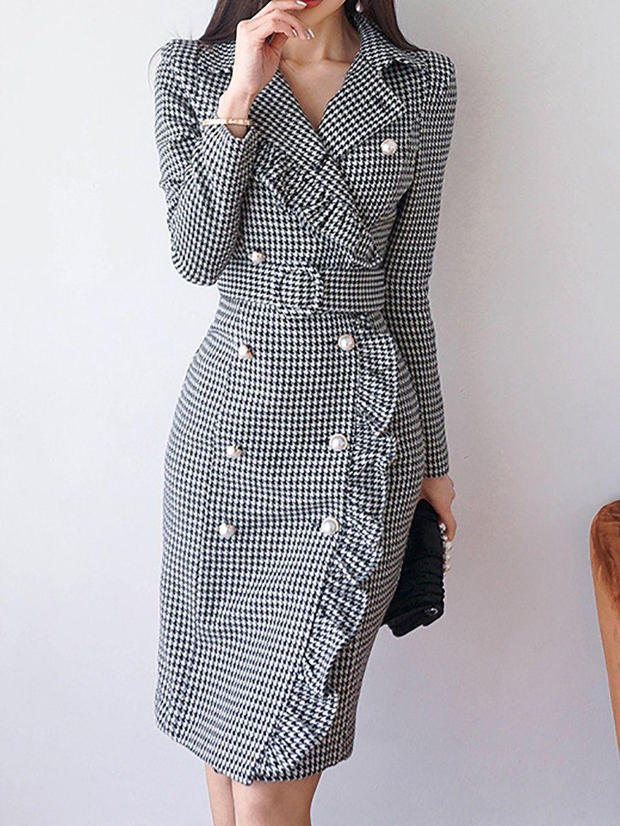 69340a1764 Lapel Black Midi Dress Sheath Daytime Buttoned Gingham Dress | Fall ...