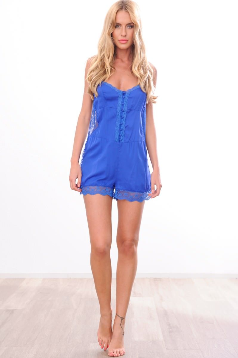 HelloMolly | Love for Lace Playsuit Cobalt