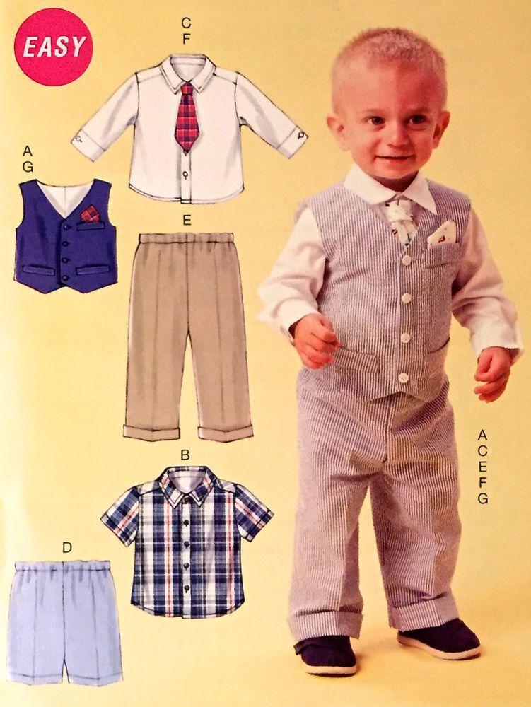 BABY BOY Sewing Pattern ~ Vest Tie Shirt Pants Shorts Pocket Square ...