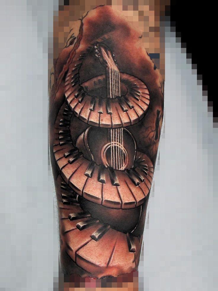 Piano And Guitar Tattoo