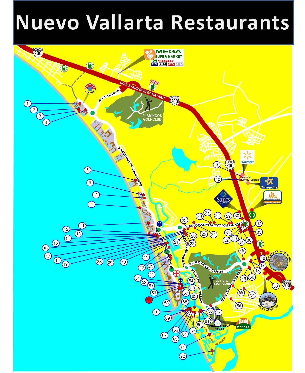 Map Of Nuevo Vallarta Mexico Restaurants. Location