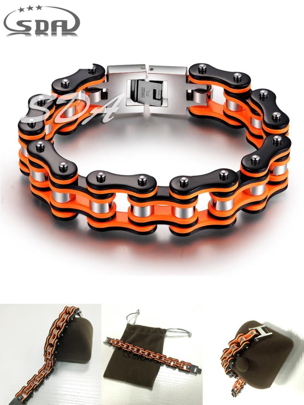 Visit To Buy Hot Sale Sda Orange Black Motorcycle Chain Bracelets