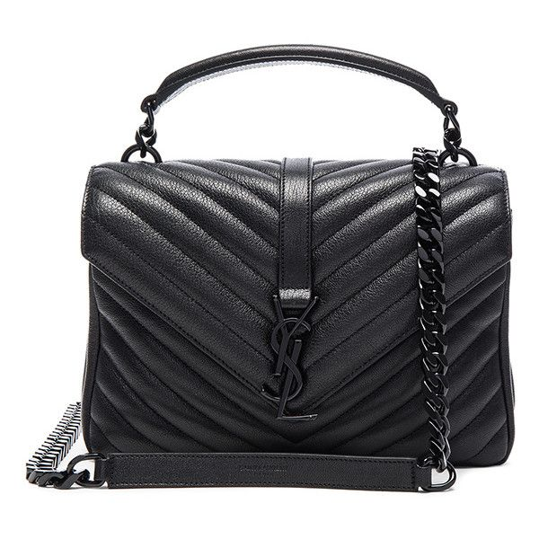Saint Laurent Medium Monogram College Bag (9.960 RON) ❤ liked on Polyvore  featuring bags, handbags, monogrammed handbags, quilted chain shoulder bag,  ... 49030065d1