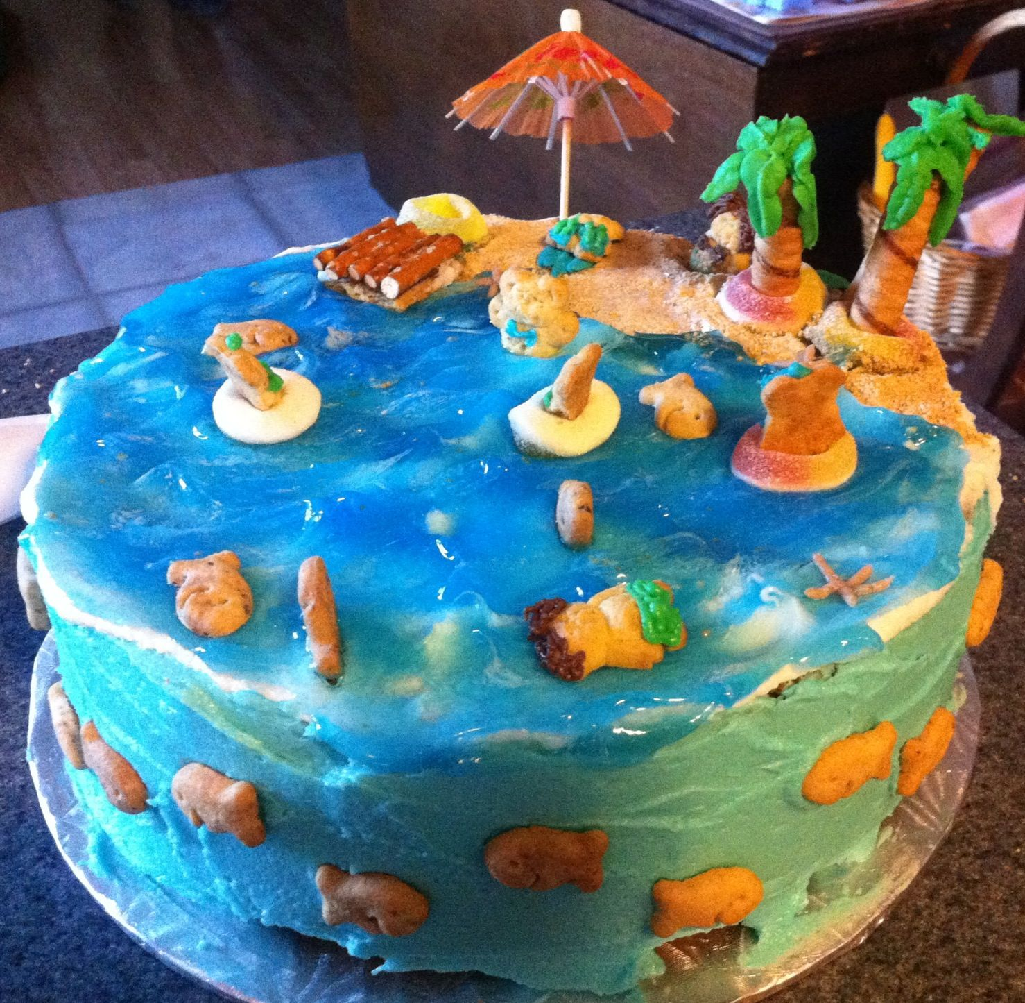 Beach cake. Used graham cracker crumbs for sand and Wilton clear ...