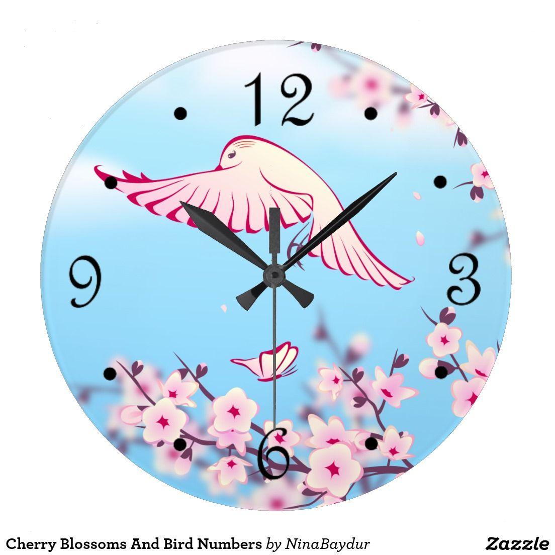 Cherry Blossoms And Bird Numbers Wallclock
