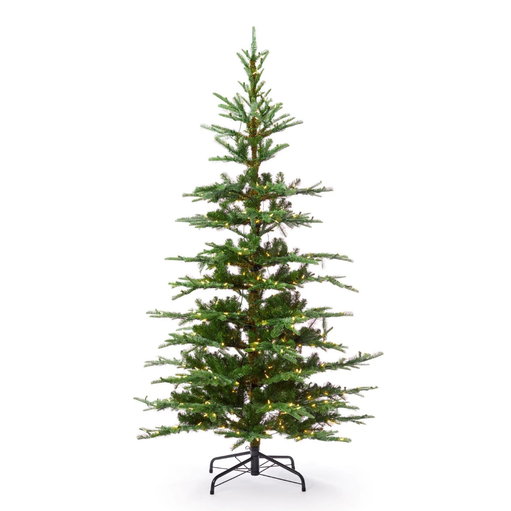 8' King Noble Fir Artificial Christmas Tree with 600 Warm