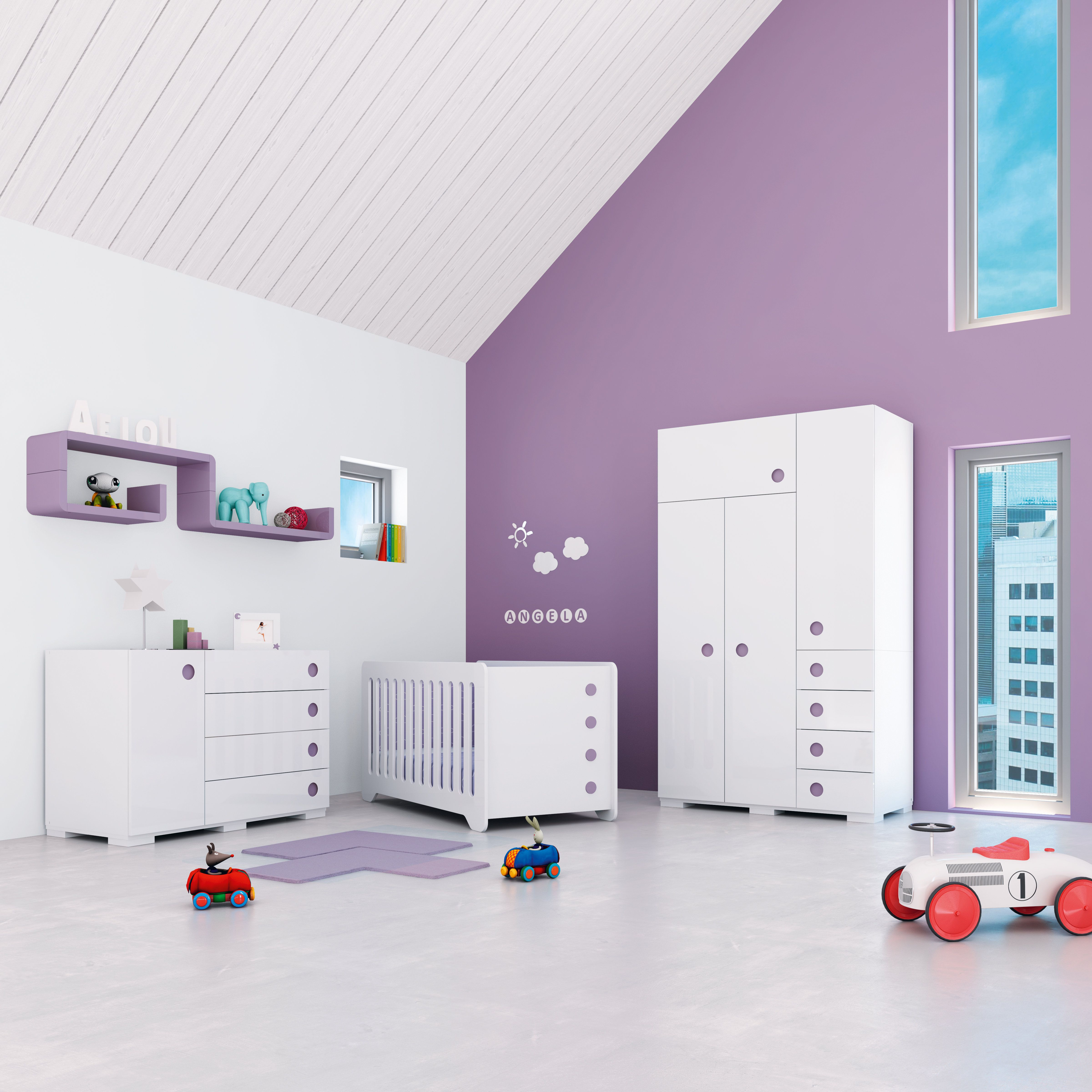 Habitaciones infantiles de dise o color lila para beb s for Diseno de habitaciones infantiles