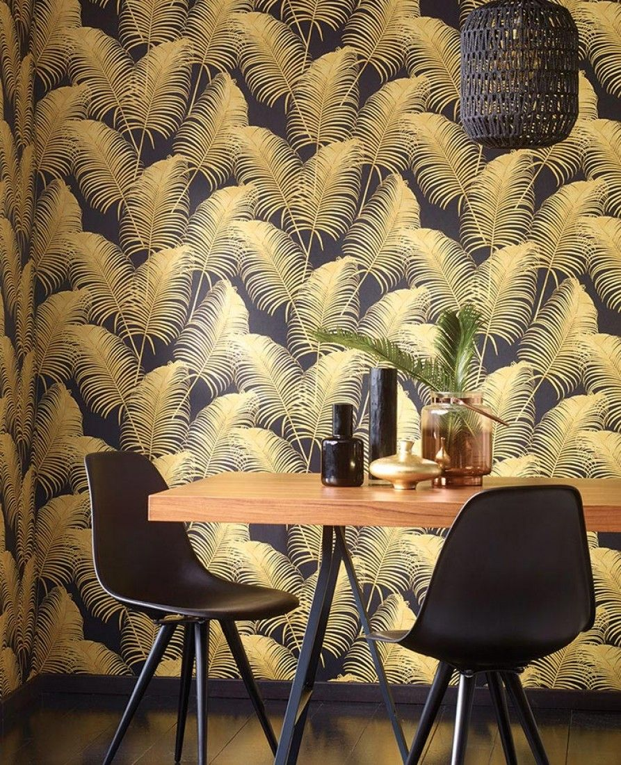 €73.90 Price per roll (per m2 €13.86), Romantic wallpaper, Carrier material: Non-woven wallpaper, Surface: Smooth, Look: Matt, Design: Palm fronds, Basic colour: Black, Pattern colour: Sand yellow, Characteristics: Good lightfastness, Low flammability, Strippable, Paste the wall, Wash-resistant