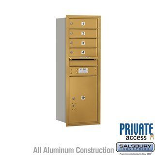 4C Horizontal Mailbox (Includes Master Commercial Lock) - 11 Door High Unit (41 Inches) - Single Column - 4 MB1 Doors / 1 PL5 - Gold - Rear Loading - Private Access by Salsbury Industries. $427.50. 4C Horizontal Mailbox (Includes Master Commercial Lock) - 11 Door High Unit (41 Inches) - Single Column - 4 MB1 Doors / 1 PL5 - Gold - Rear Loading - Private Access - Salsbury Industries - 820996413321