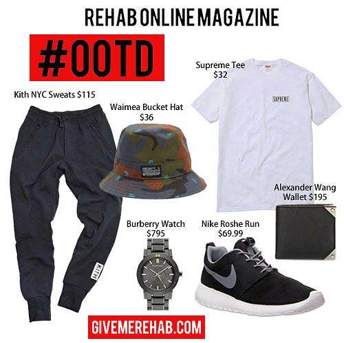 9db35955654 REHAB ONLINE MAGAZINE   MEN S FASHION FIX WHERE TO COP  Kith Quilted  Bleecker NYC Sweats  115 Waimea Bucket Hat  36 Supreme Riot Tee White  Alexander Wang ...
