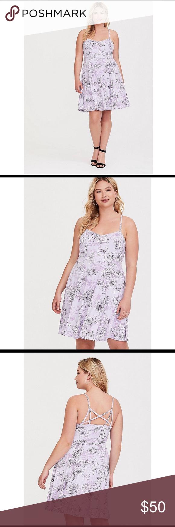 921798e4712 Torrid Lavender Floral Jersey Knit Skater Dress NWT Size 1 DETAILS A  stretchy skater dress has