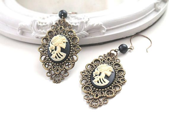 Lady Skeleton cameo  dangling earrings black ivory gothic