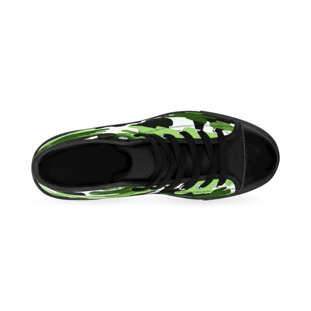 Frog White Green Camouflage Army Military Print Men's High-top Sneakers Shoes