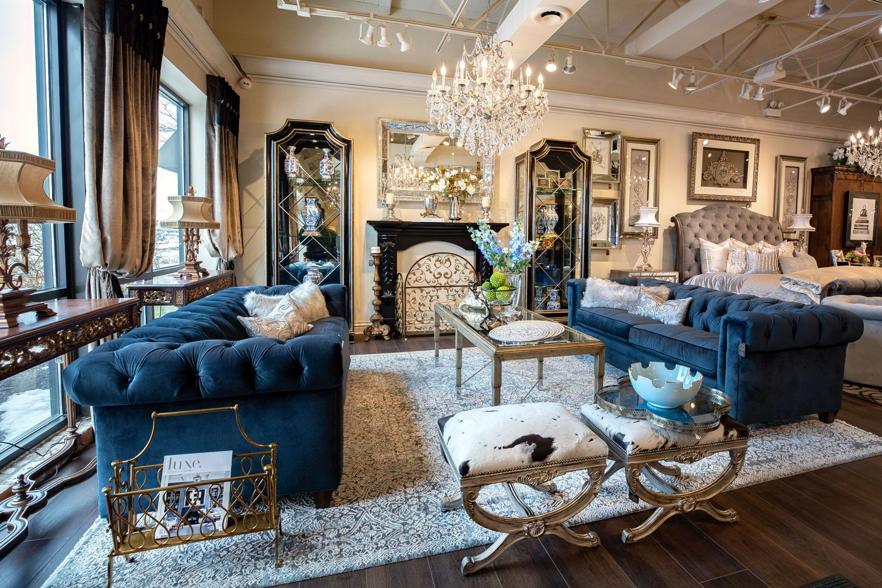 Celebrating You Glamorous Living Room Blue Sofas Living Room Tufted Sofa Living Room