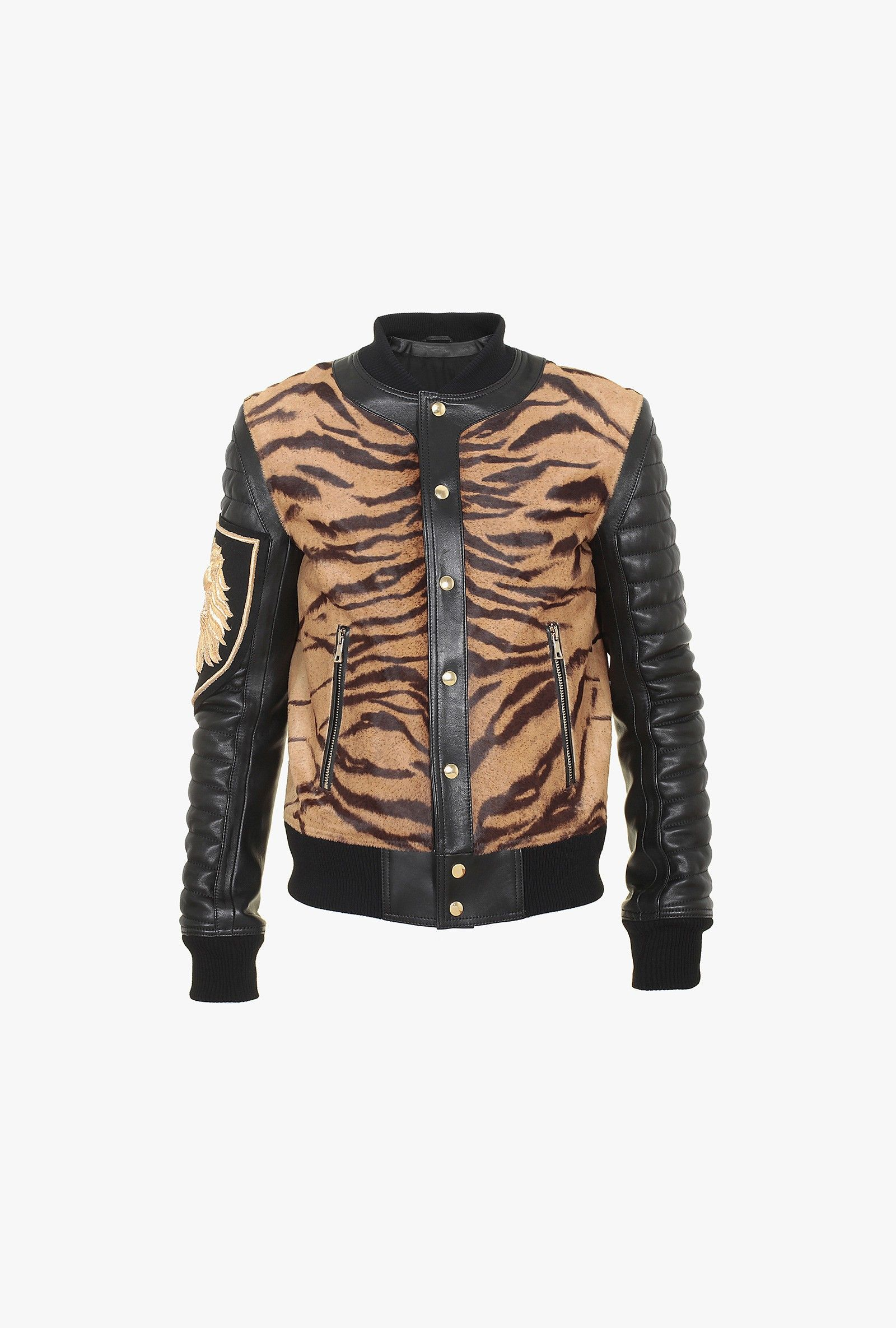Balmain Blouson motard en cuir imprimé tigre 5200 EUR.   Mode femme ... 0d49d254c999