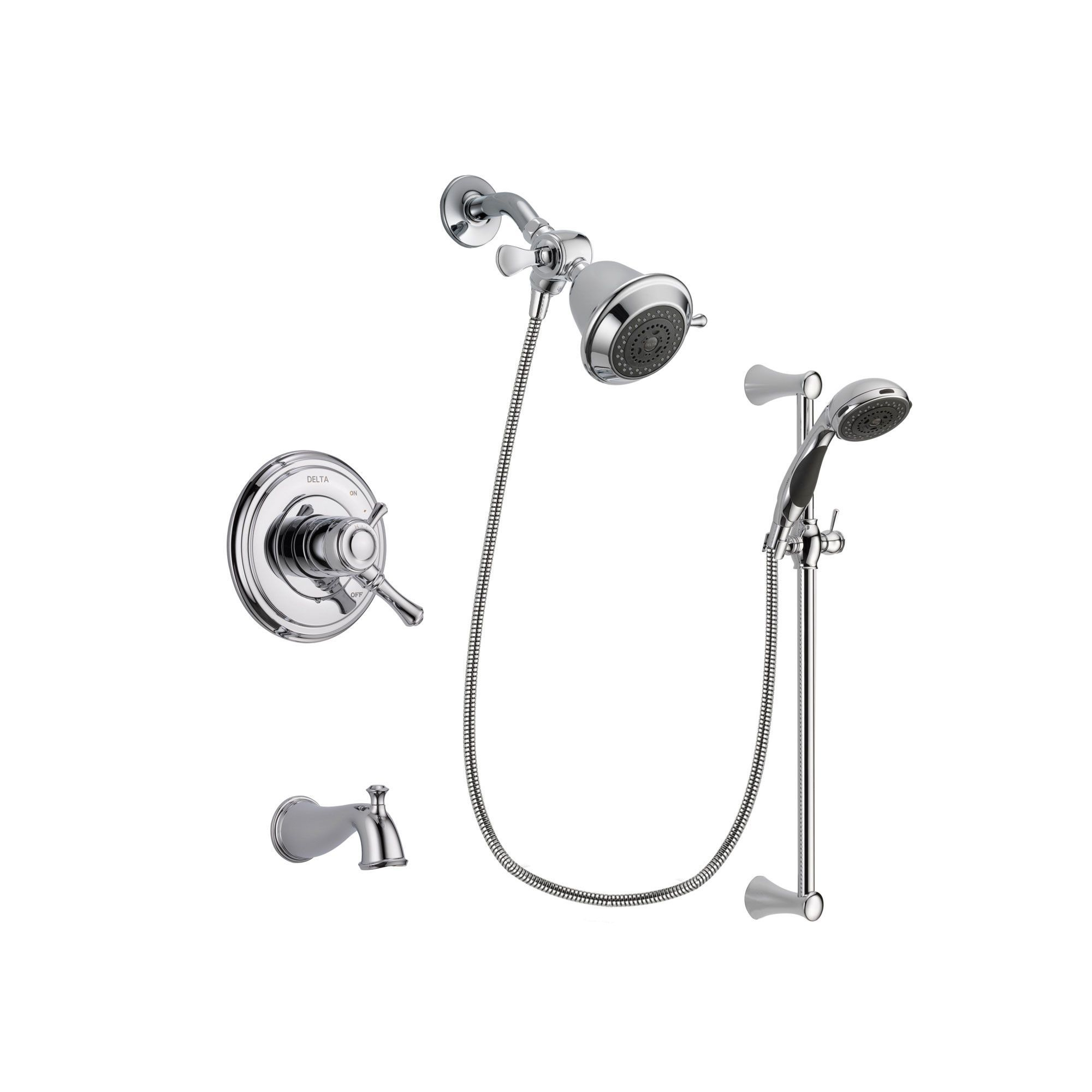 Delta Cassidy Chrome Tub And Shower Faucet System With Hand Shower