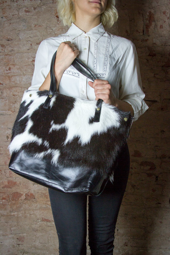 6c2f9c84ad Black and white leather tote