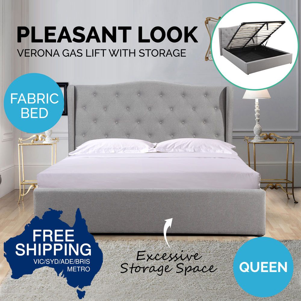 Queen Size Gas Lift Storage Bed Frame Headboard Fabric Wooden Base