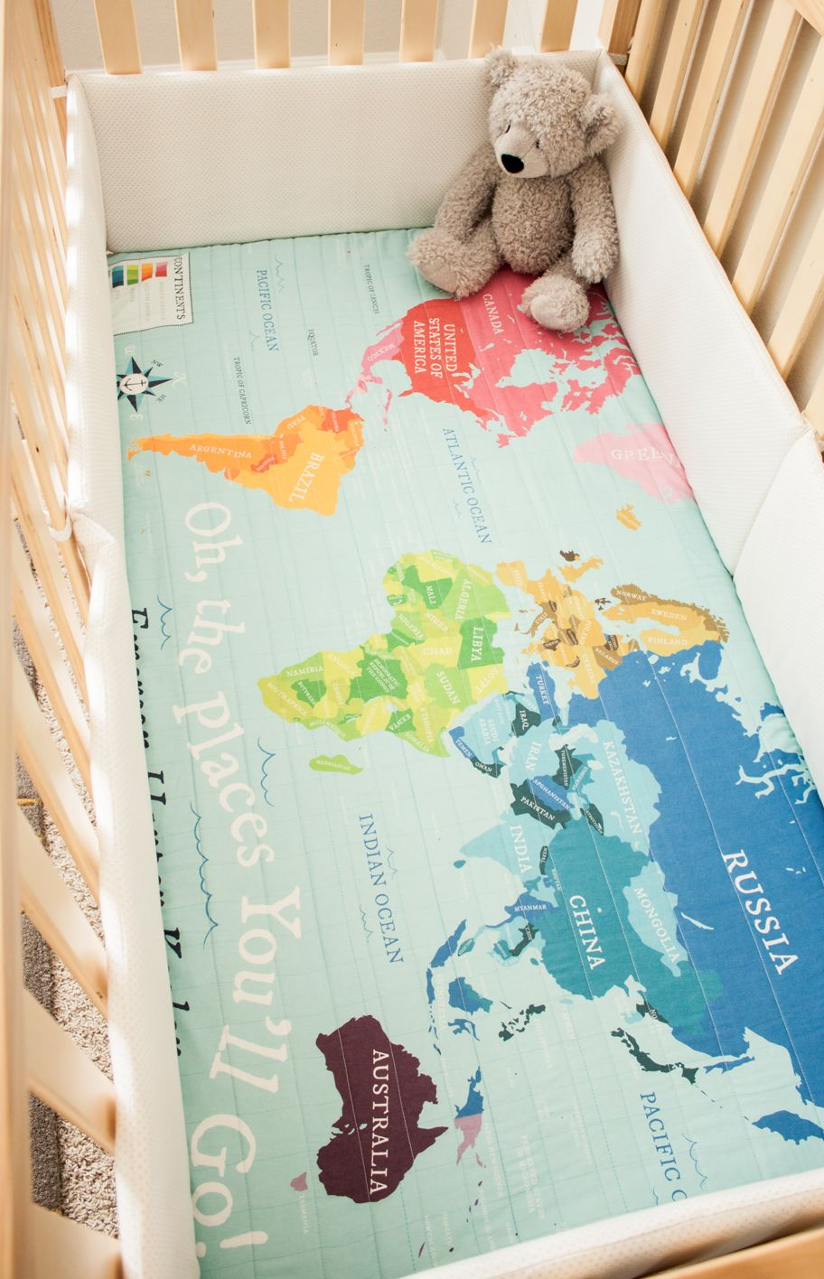 World Map Quilt / Organic Baby Quilt / Organic Toddler Quilt ...