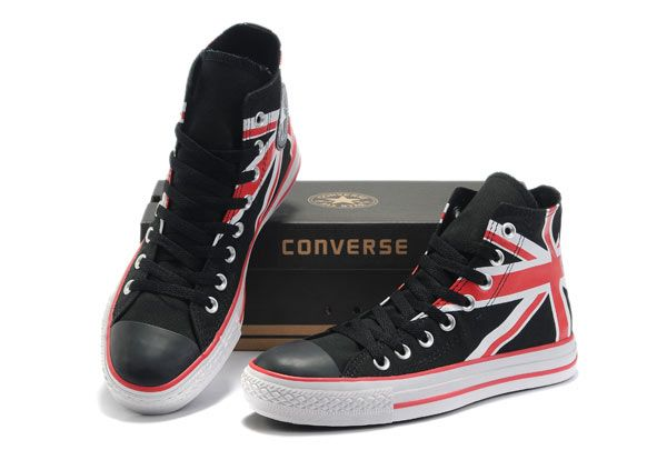 Converse British Flag High Top Black Canvas White Red Flag Sneakers [BN11071622] - $55.00 : Designer Converse American&UK Flag and All Star Platform Sneakers Offered From Converse All Star High Tops Sneakers Outlet