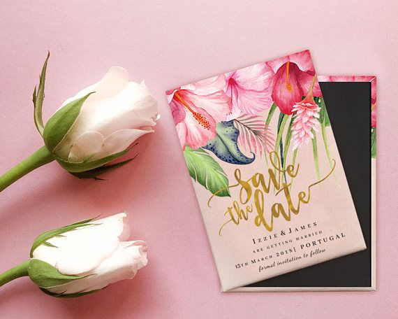 Destination Wedding Save The Date Magnet Blush Pink And Gold Tropical Flowers
