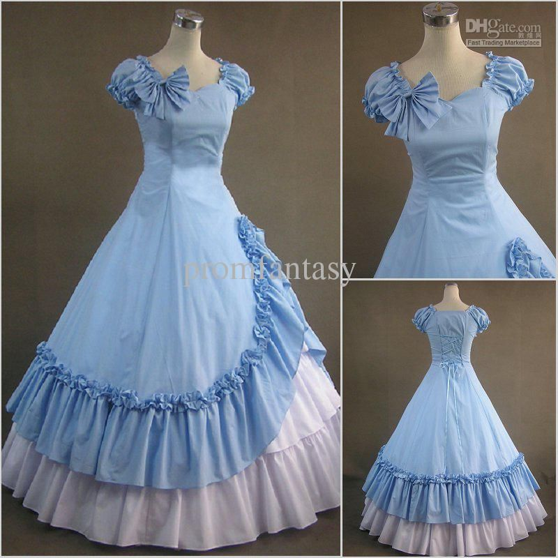 2016 Cosplay Lolita Dress Sky Blue/White Cotton Gothic Victorian ...