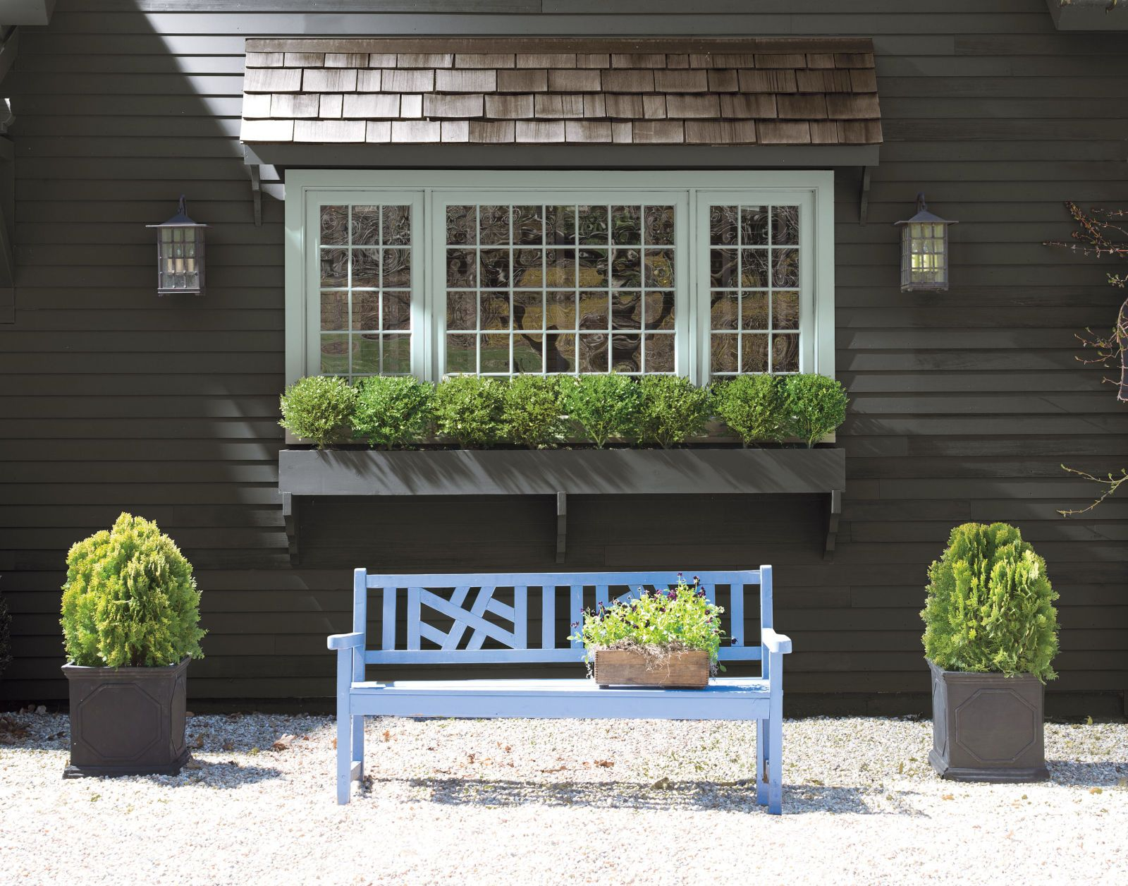 Moody gray benjamin moore iron mountain 2134 30 accented with secret af 710 trim
