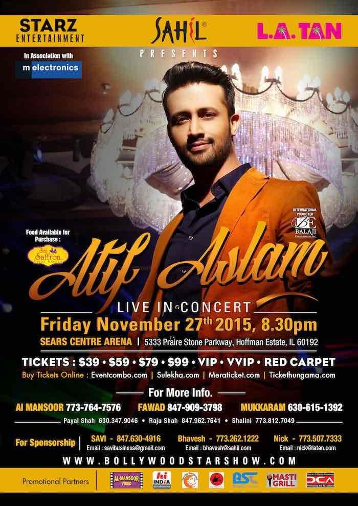 Atif Aslam Live in Concert, Chicago at Sears Center Arena, 5333 Prairie  Stone Pkwy