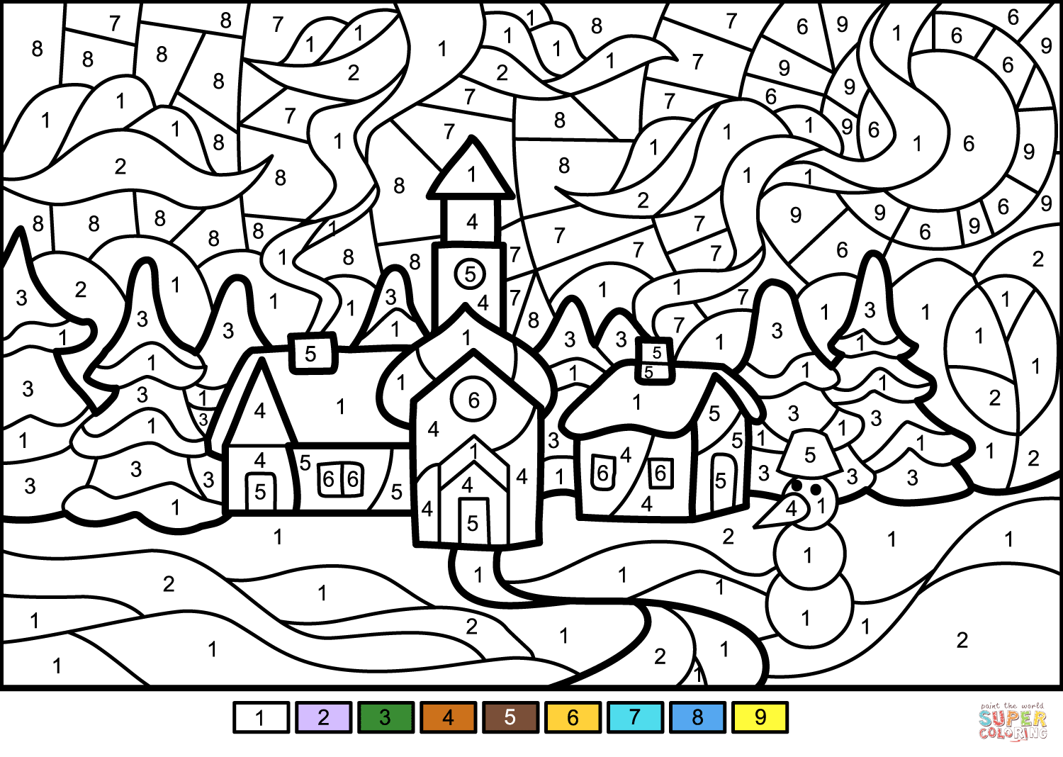 Winter Town Color By Number