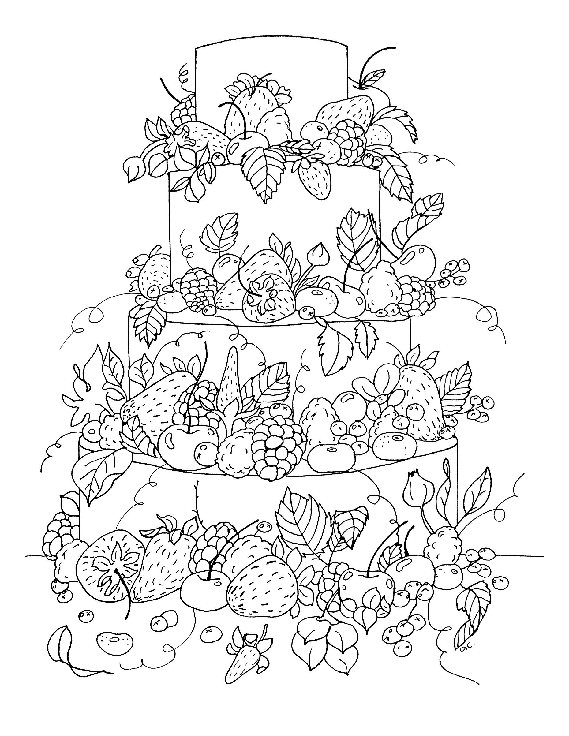 Free coloring page coloring big fruit cake by olivier From the