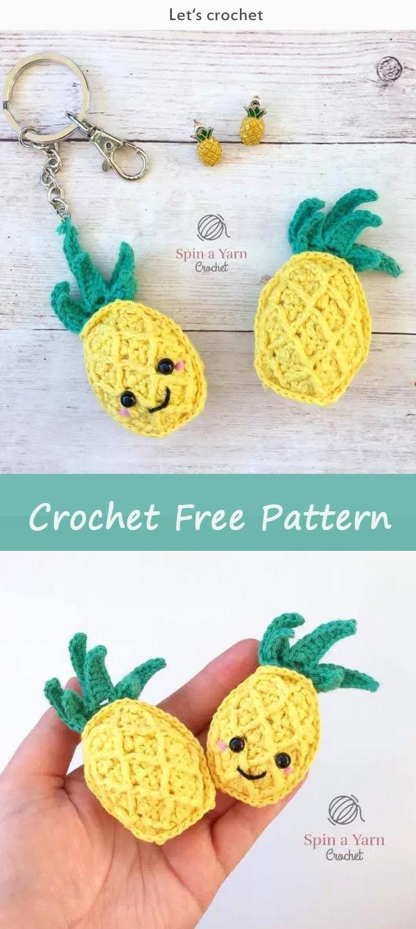 Pineapple Keychain Free Crochet Pattern | amigurumi | Pinterest ...