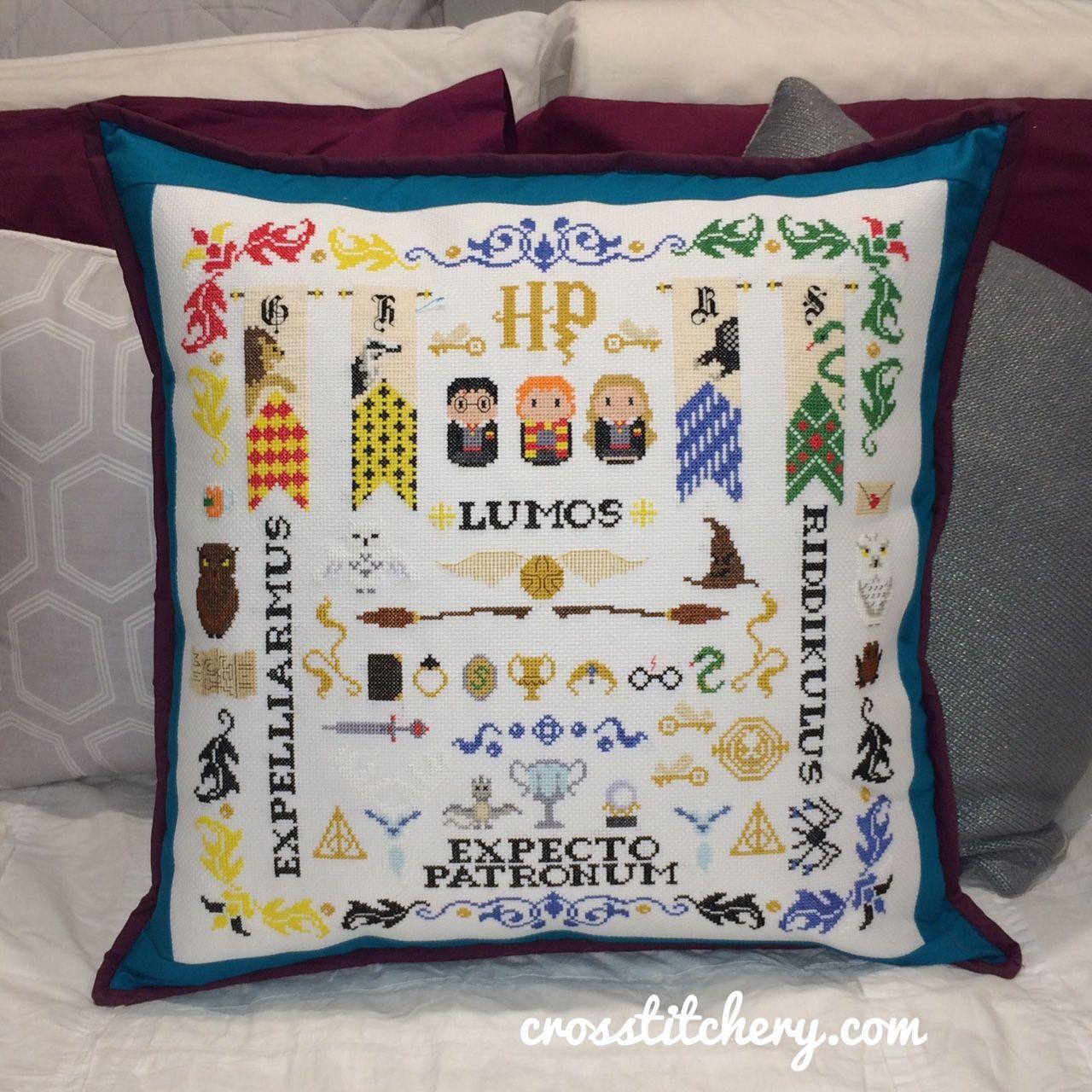 Harry Potter Sampler Cross Stitch Cushion - Sewn, Beginner   cross ...