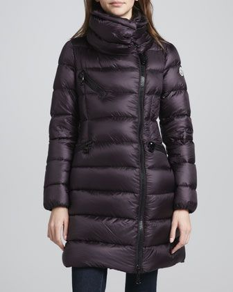 d4c7716e2 Moncler Asymmetric-Zip Long Puffer Coat
