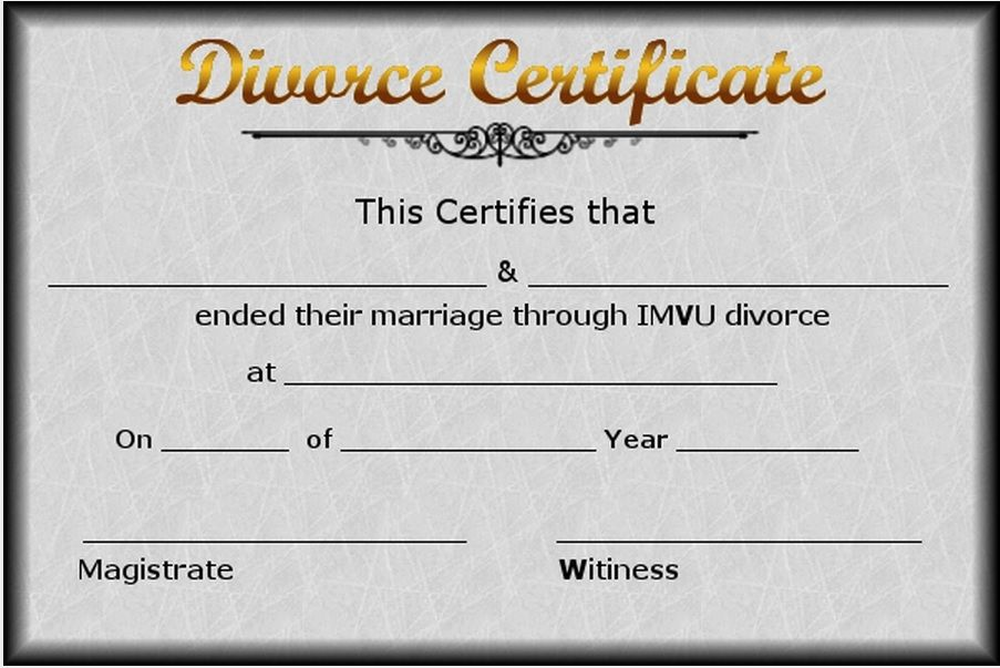 Divorce Certificate Sample Complete Divorce Certificate