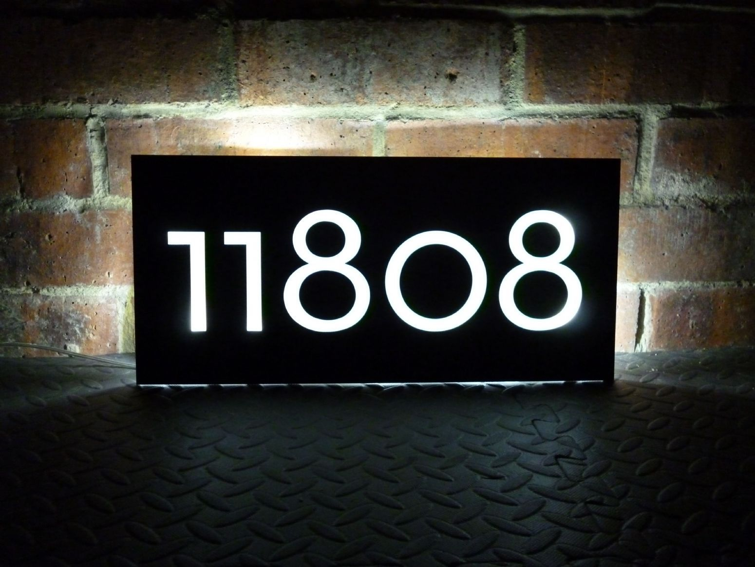Illuminated Lettered House Number Plaque Illuminated House
