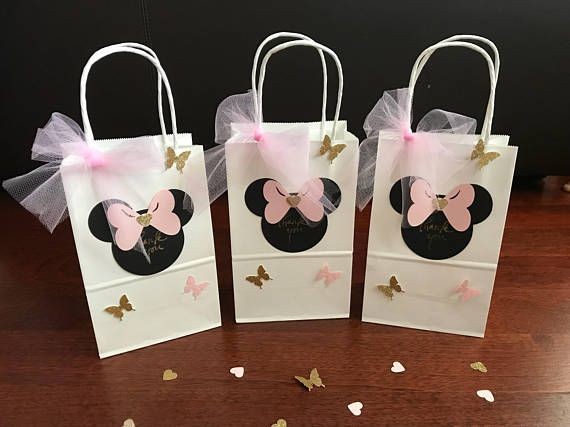 10 Minnie Mouse Goodie Favor Bags Pink Gold Black Red Birthday Party Gift Disney Mickey Cute B