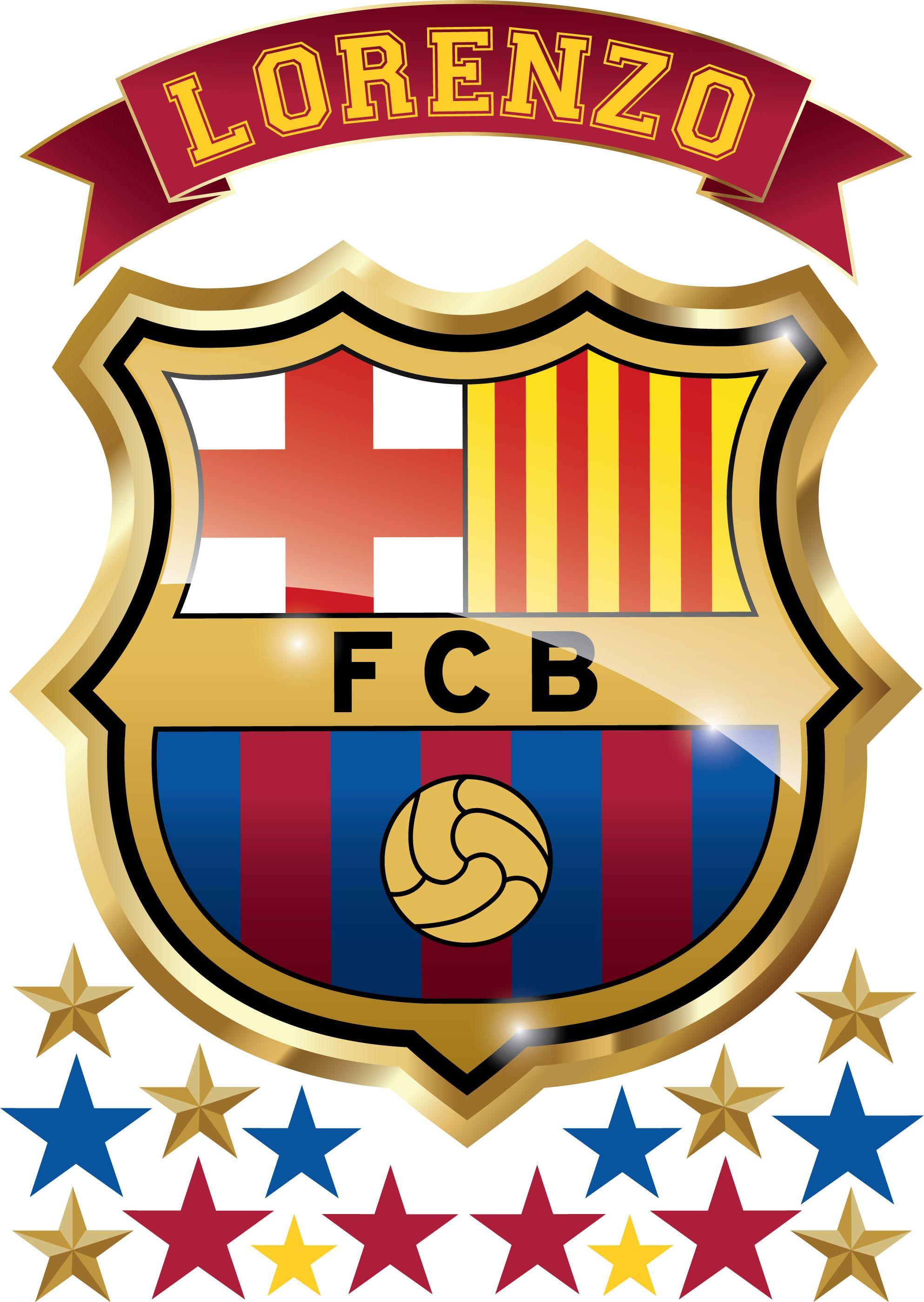 Vinilo Escudo Barcelona Con Tu Nombre Personalizado  70d64eb8aa0