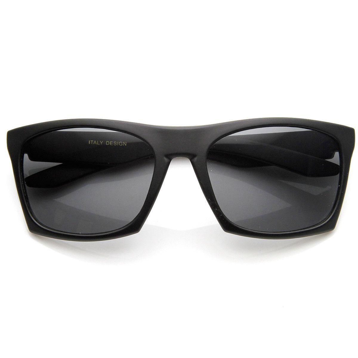 Modern Fashion Matte Black Square Frame Aviator Sunglasses