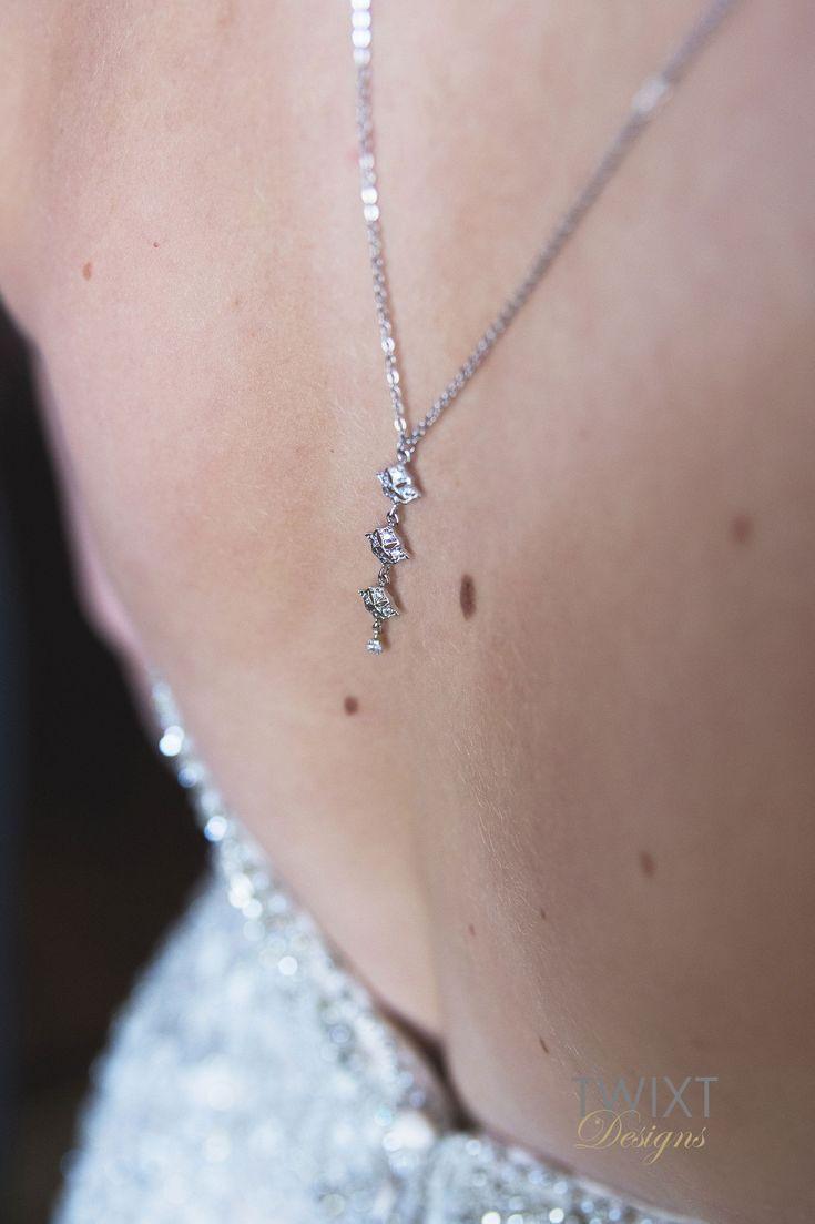 Backdrop necklace silver art deco back drop necklace bridal