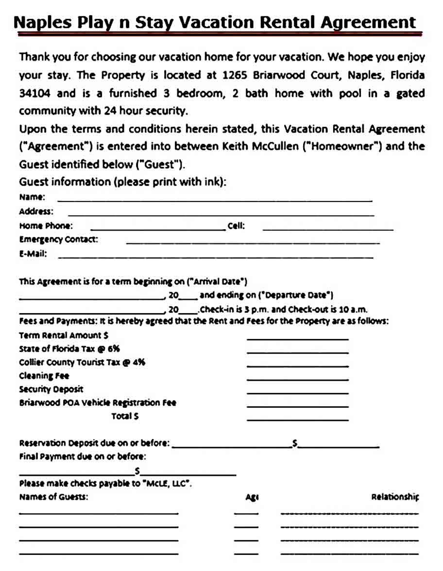 Sample Vacation Rental Agreement Template Rental Agreement Templates Contract Template Vacation Rental