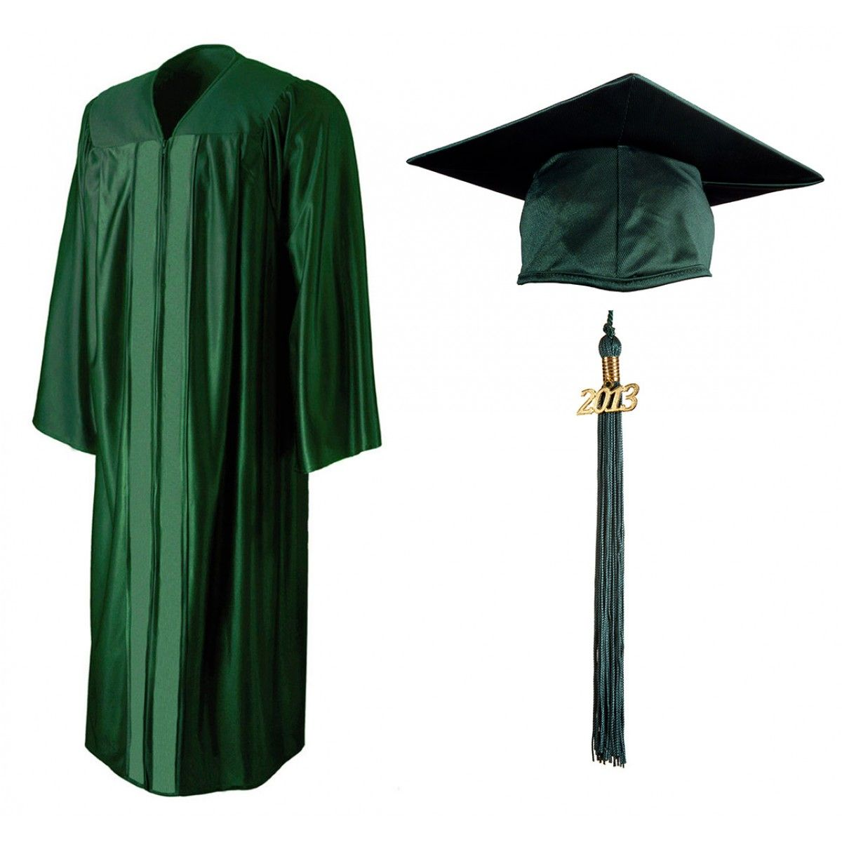 Shiny Forest Green Cap, Gown & Tassel | GraduationSource Products ...