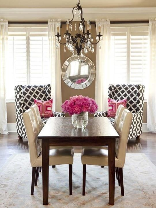 Dining Room With Pop Of Color Home Decor And Interior Decorating Ideas Home Decor Home Home N Decor