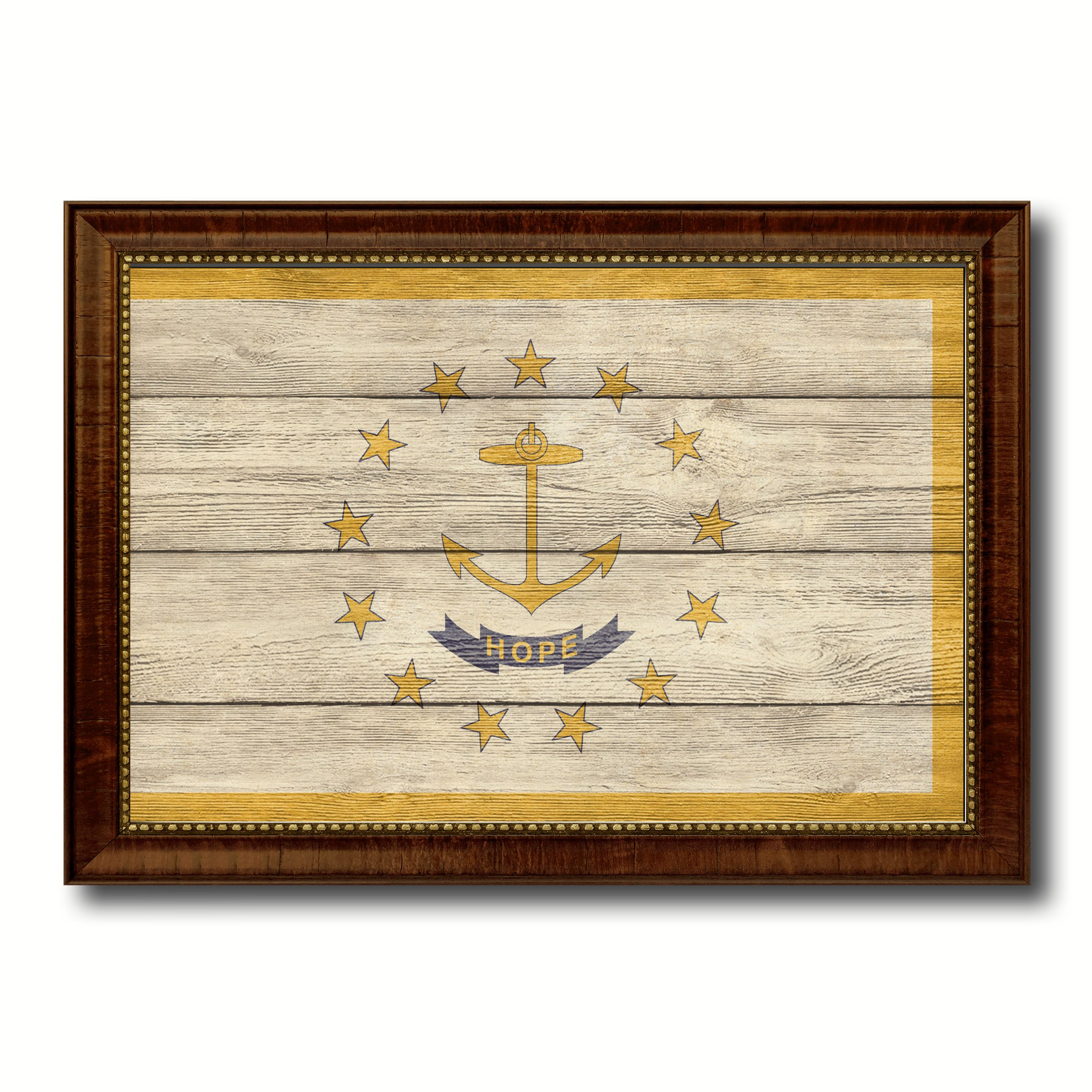 Rhode Island State Flag Texture Canvas Print with Brown Picture Frame Gifts Home Decor Wall Art Collectible Decoration
