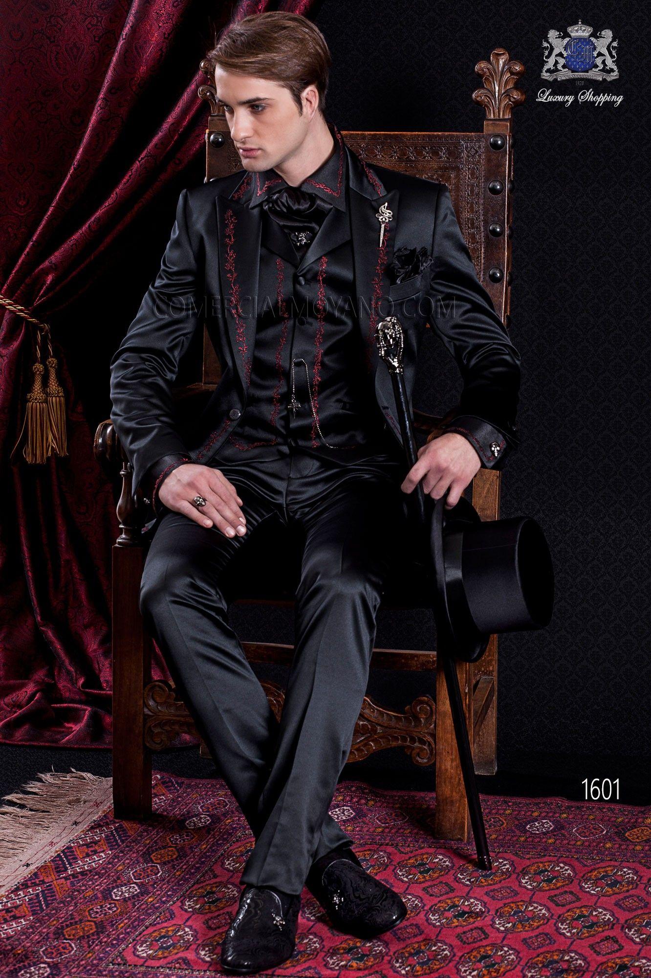 gotik schwarzer hochzeitsanzug aus satin mit steigendes. Black Bedroom Furniture Sets. Home Design Ideas