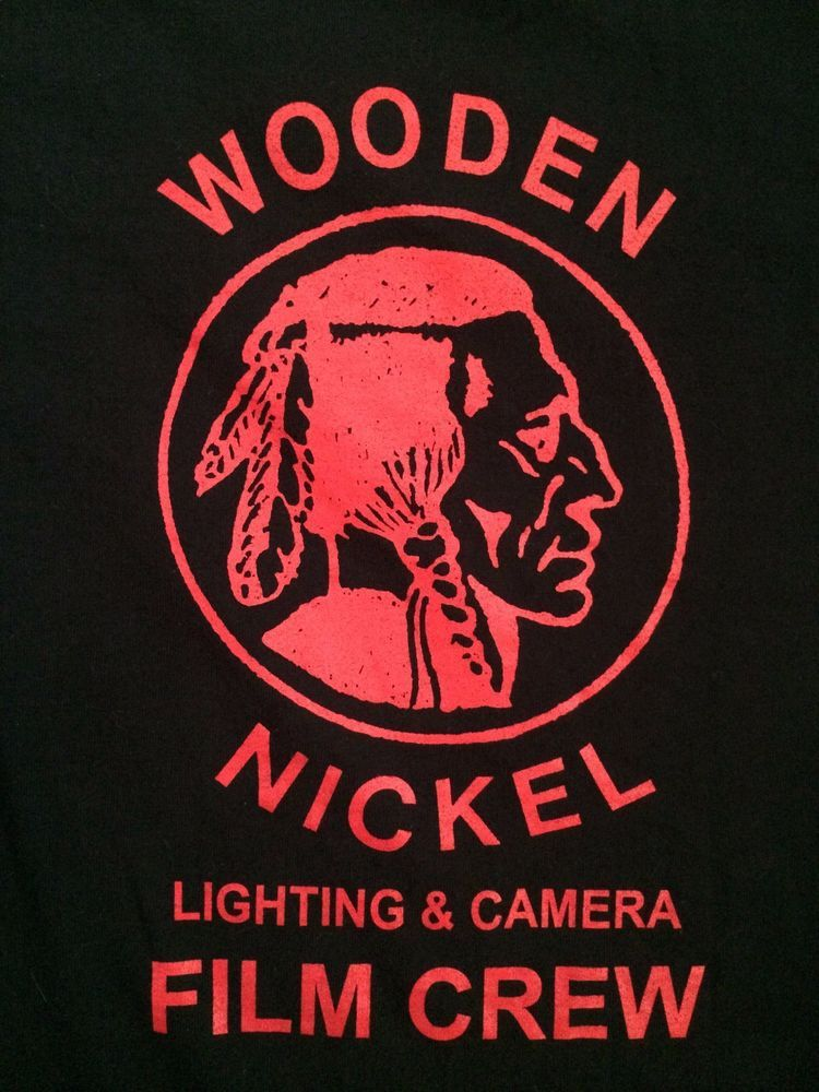 Wooden Nickel Lighting Camera Film Crew Indian T Shirt Red Black Size