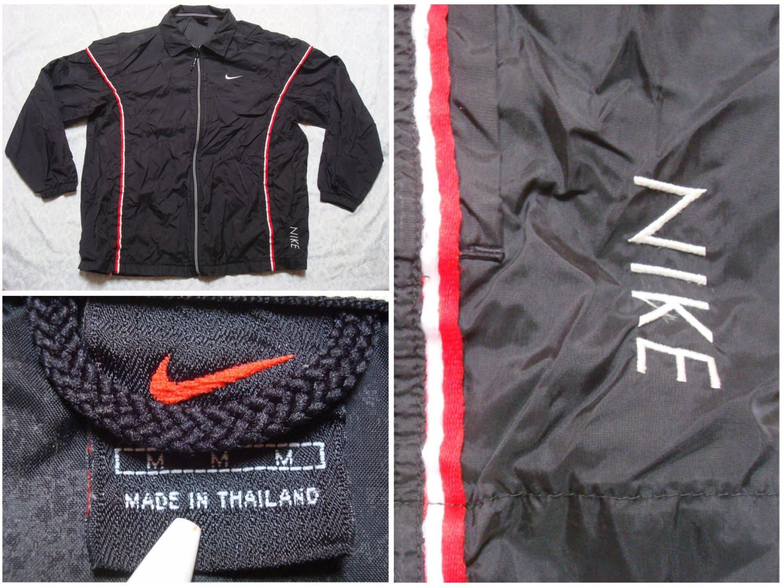 124fc5959447d5 Vintage Men s Nike 90 s Jacket Black Red White Spell Out Stripe Full Zip  Windbreaker Coaches Jacket Streetwear Medium by GentlyUsedGoods on Etsy