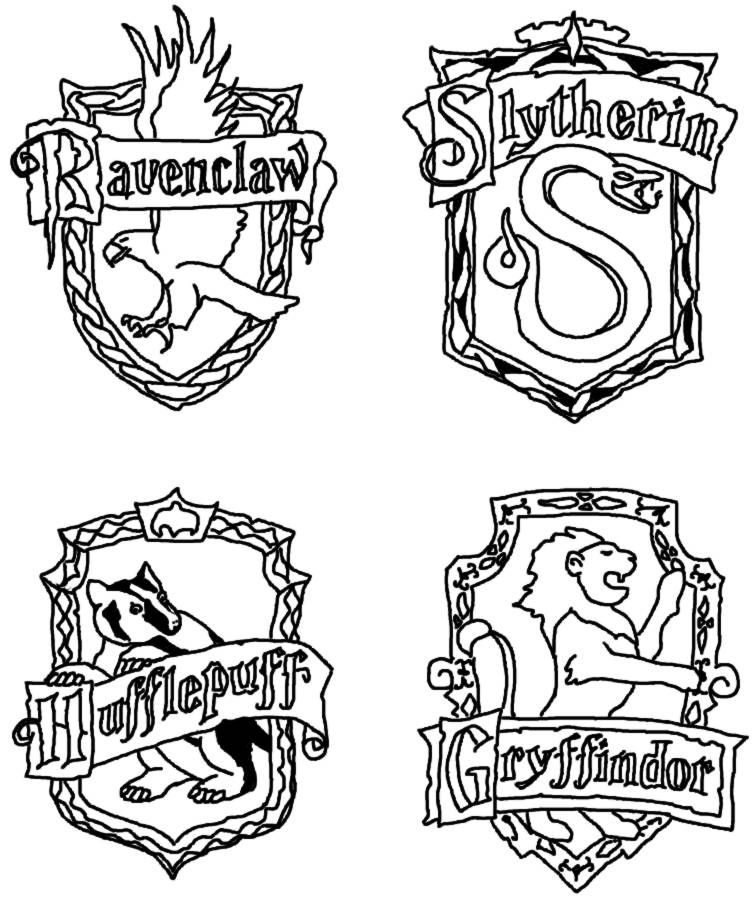 harry potter house crest coloring page - Harry Potter Coloring Pages