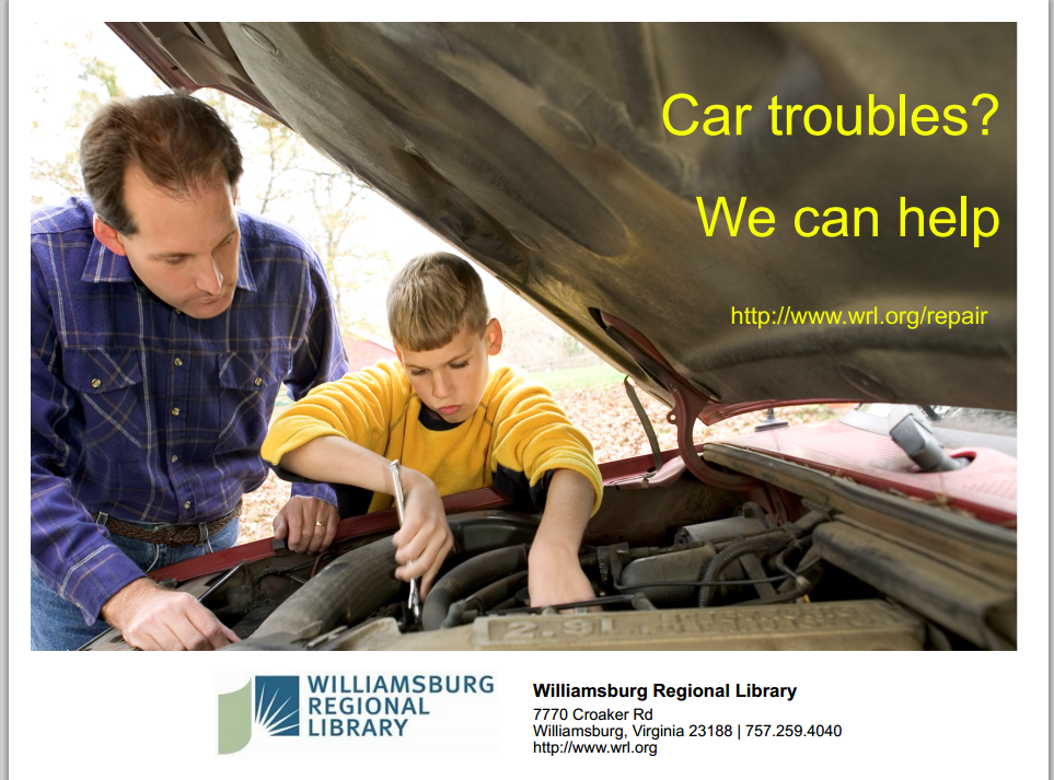 Flyer from Williamsburg Regional Library Ford f150, Air