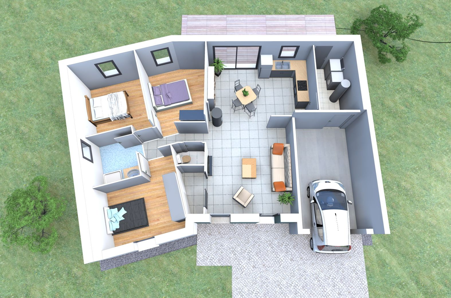 plan 3d d 39 une maison en v de plain pied avec 3 chambres garage faites la construire avec. Black Bedroom Furniture Sets. Home Design Ideas